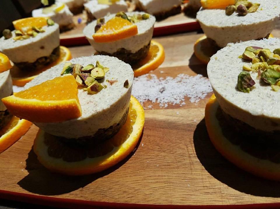Oasis Cafe Redcliffe vegan orange, coconut & pistachio cake
