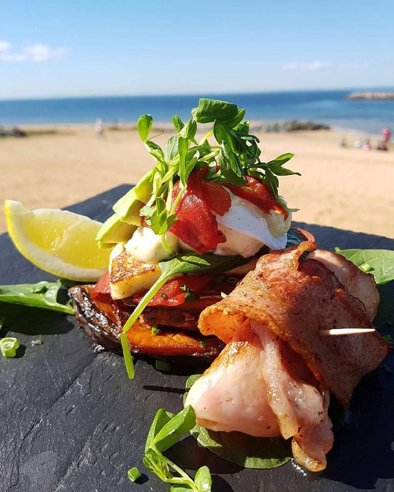 Oasis Cafe Redcliffe vege stack with bacon