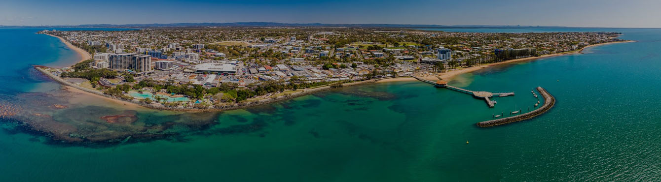 Aerial drone view of Settlement Cove Lagoon, Redcliffe, QLD, Australia