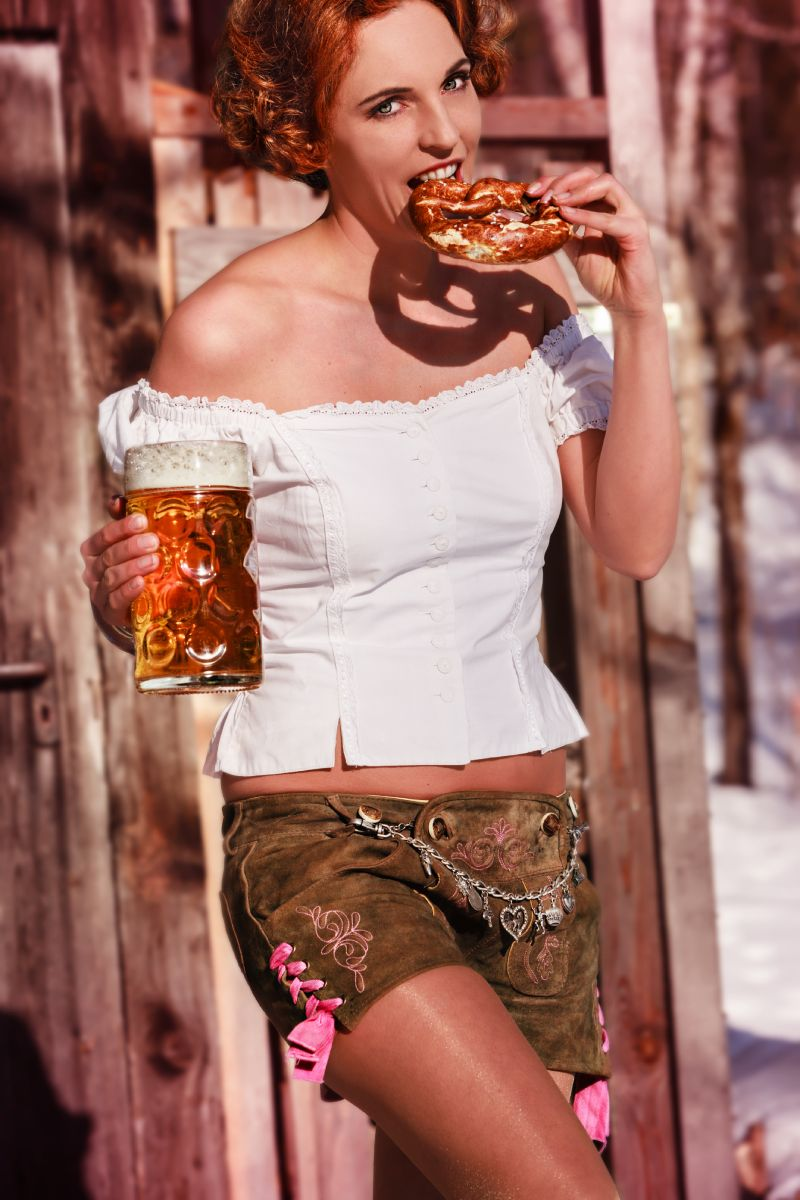 Marchtoberfest Image of Fraulein with Beer and Pretzel