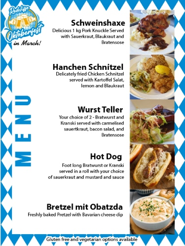Marchtoberfest Redcliffe 2021 menu